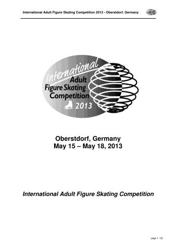 2013 International Adult Figure Skating Competition Announcement