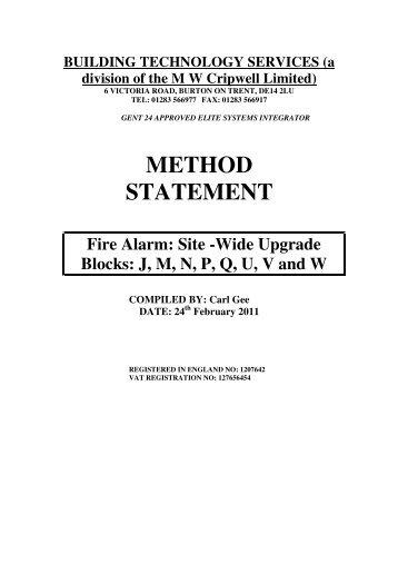 Method Statement âu20acu201c Sample   Building Technology Services  Method Of Statement Sample