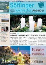 Söflinger Weihnachts-Anzeiger vom Dezember 2012 (PDF 13,2 MB)