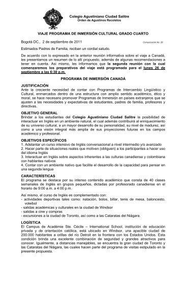 Colegio Agustiniano Ciudad Salitre VIAJE PROGRAMA DE ...