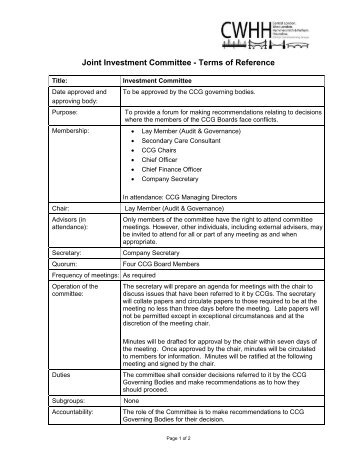 Medical committee terms of reference terms of joint investment committee terms of reference pronofoot35fo Choice Image