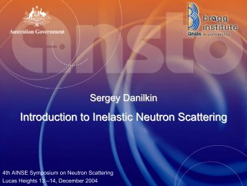 Introduction to Inelastic Neutron Scattering - LNS