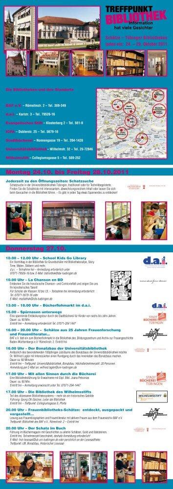 Montag 24.10. bis Freitag 28.10.2011 Donnerstag 27.10. - BAF eV