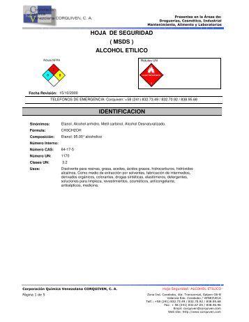 HOJA DE SEGURIDAD ALCOHOL ETILICO ( MSDS ...