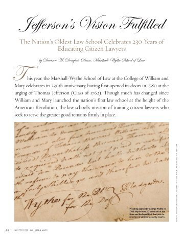 Jefferson's Vision Fulfilled - The William & Mary Alumni Association