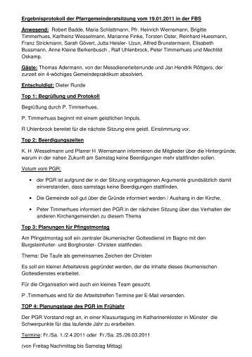 Protokoll 19.01.2011 - Start - Katholisch in Steinfurt