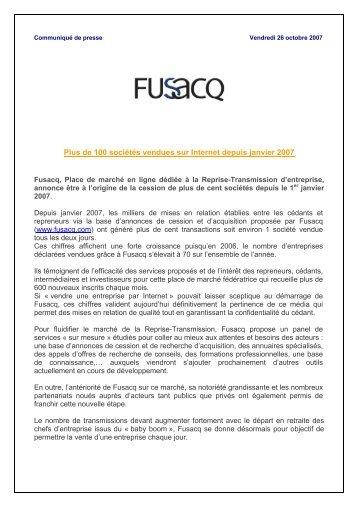 de 100 sociétés vendues grâce à Fusacq depuis janvier 2007