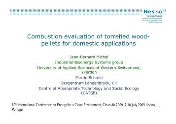 Combustion evaluation of torrefied wood- pellets for ... - HEIG-Vd