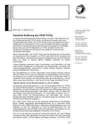 Pressemitteilung TOUR TOTAL - Total Deutschland GmbH