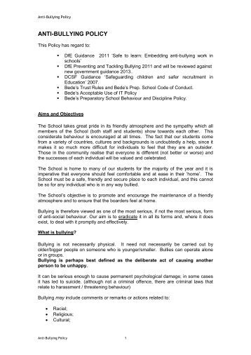 ANTI-BULLYING POLICY - St Bede's School