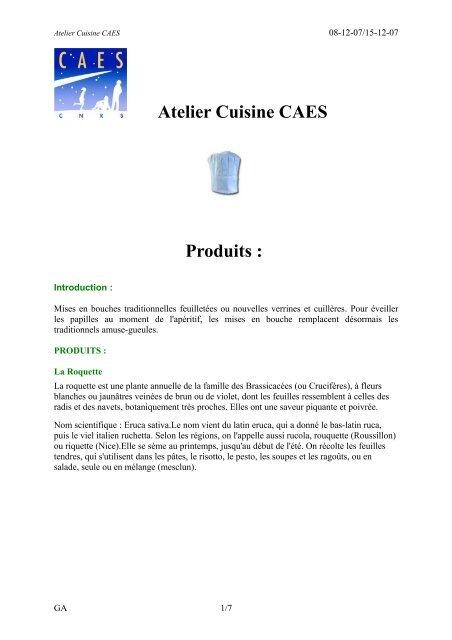 Atelier Cuisine CAES Produits