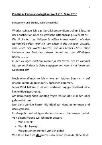 zur Predigt von Pfr. Wernsmann - Katholisch in Steinfurt