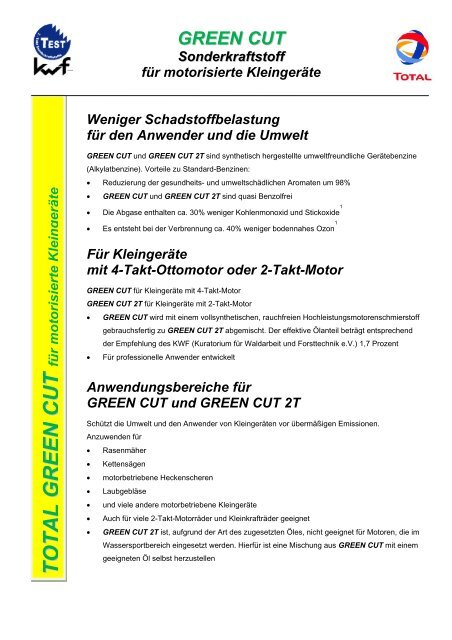 Vorzüge von GREEN CUT und GREEN CUT 2T - Total Deutschland ...