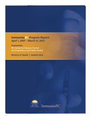 ImmunizeBC Progress Report - Ministry of Health