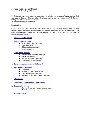 Admissions Policy - St Bede's School