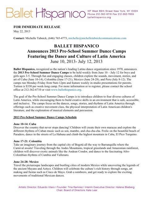 Ballet Hispanico Announces 2013 Pre-School Summer Dance Camps