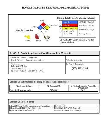 HOJA DE DATOS DE SEGURIDAD DEL MATERIAL (MSDS ...