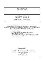 TRAMWAY DOSSIER UNIQUE Volet fiscal / Volet social - Le Tram