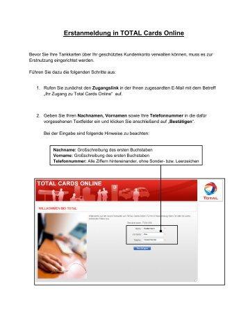 Erstanmeldung in TOTAL Cards Online