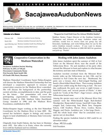 SAS February 2011 Newsletter - Sacajawea Audubon