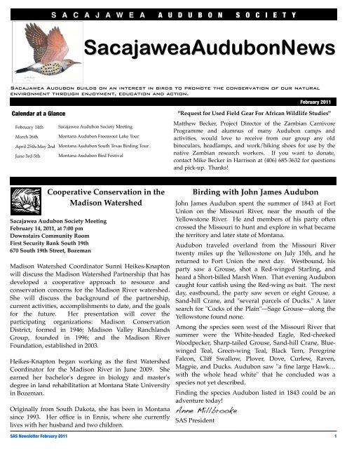 SAS February 2011 Newsletter - Sacajawea Audubon