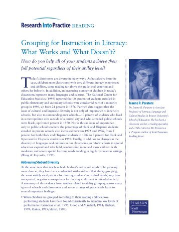 Grouping for Instruction in Literacy: What Works and What ... - Pearson