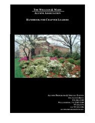 the william & mary alumni association handbook for chapter leaders