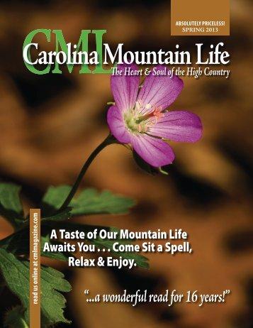 my story in Carolina Mountain Life - Michael J. Solender