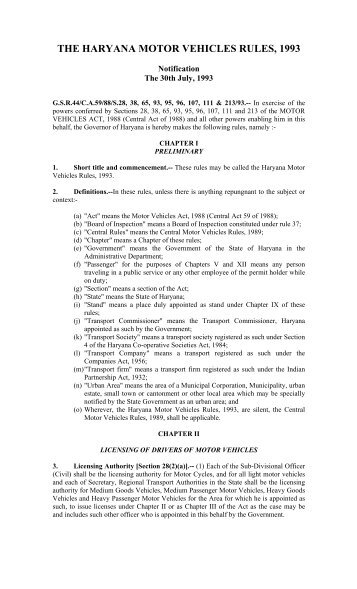 the haryana motor vehicles rules, 1993 - Transport Department ...