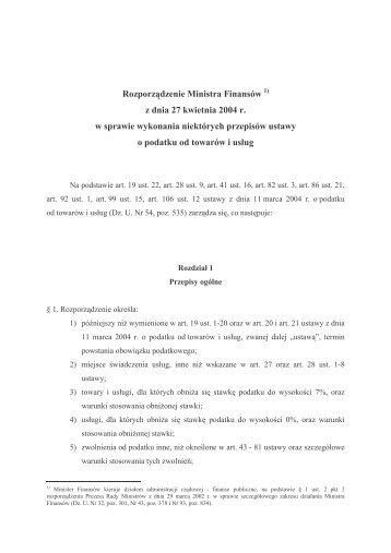 w sprawie wykonywania niektórych przepisów ustawy o podatku od ...