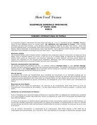 ASSEMBLEE GENERALE ORDINAIRE 1er ... - Slow Food France