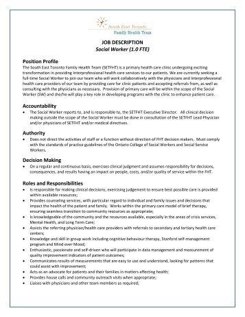 JOB DESCRIPTION HOSPITAL SOCIAL WORKER Qualified SCPs 26
