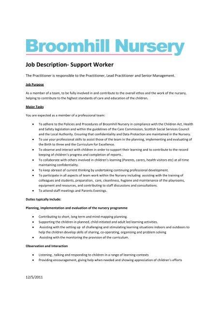 Support Worker Broomhill Nursery