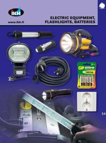 34. electric equipment, flashlights, batteries