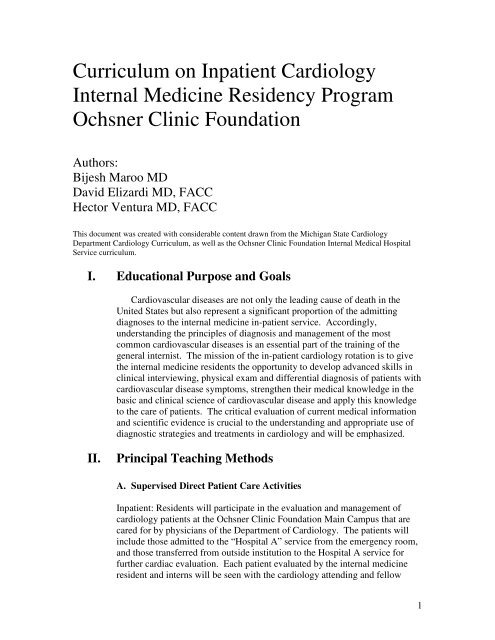 Internal Medicine Cardiology Rotation Curriculum - Ochsner