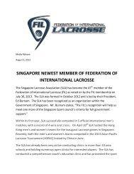 Singapore Newest Member of FIL - Ontario Lacrosse Association