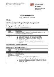 Universität Bremen Lehrveranstaltungen Master - IWT Bremen