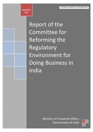 Report of the Committee for Reforming the Regulatory Environment ...