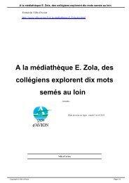 A la médiathèque E. Zola, des collégiens explorent dix mots ... - Avion
