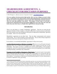 Shareholder Agreements - A Checklist for Discussion Purposes