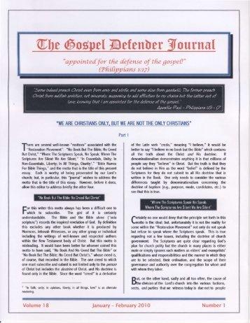 Number 1 (Jan. - Feb., 2010) - The Gospel Defender