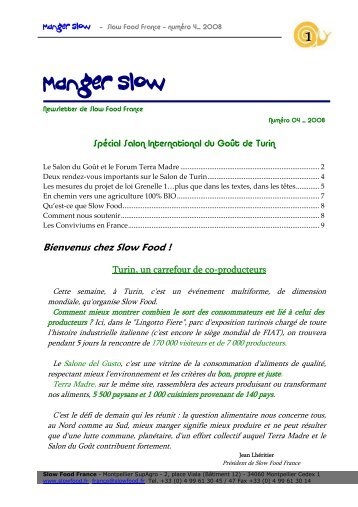 Manger Slow - Slow Food France