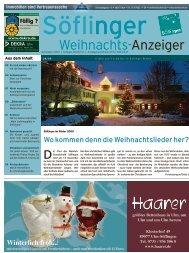 Söflinger Weihnachts-Anzeiger vom Dezember 2009 (PDF 13,7 MB)