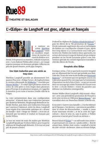 """""""Œdipe"""" de Langhoff est grec, afghan et français - Le Théâtre du Soleil"""