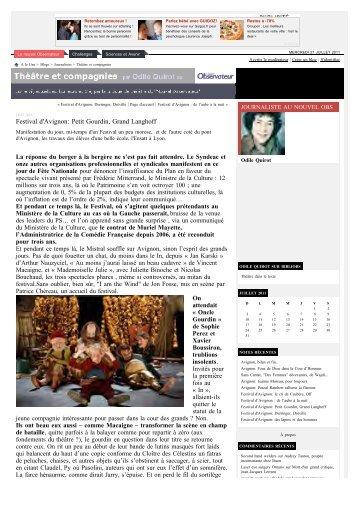 Festival d'Avignon: Petit Gourdin, Grand Langhoff - Le Théâtre du ...