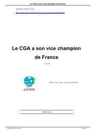 Le CGA a son vice champion de France - Avion