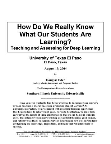 How Do We Really Know What Our Students Are Learning? - CETaL