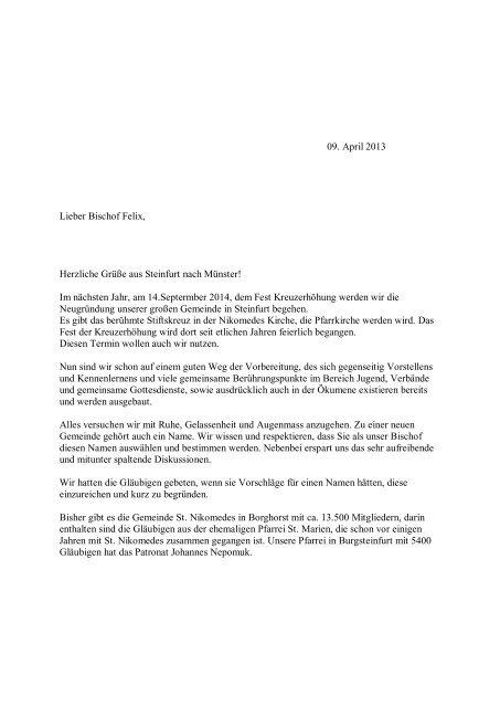 Schreiben an Bischof Felix Genn vom 09.04.2013 - Start - Katholisch ...