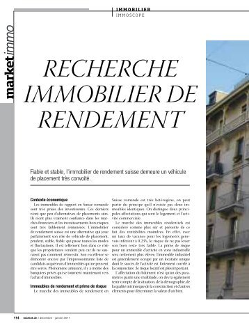 RecheRche immobilieR de Rendement - Market