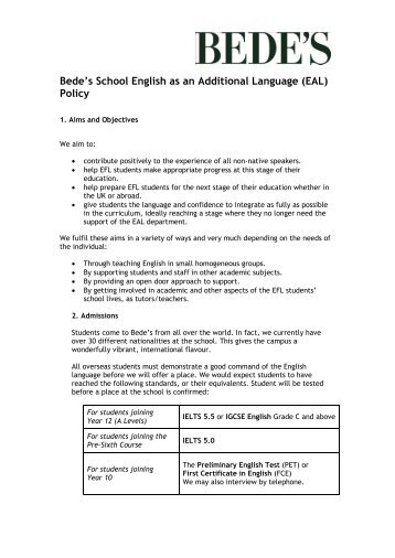 St Bede's School English as an Additional Language (EAL) Policy